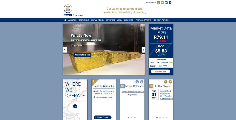 Gold Fields Corporate Site - Home page