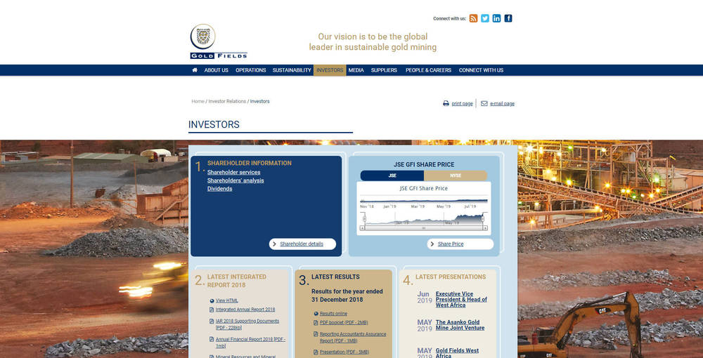Gold Fields Corporate Site - Investors