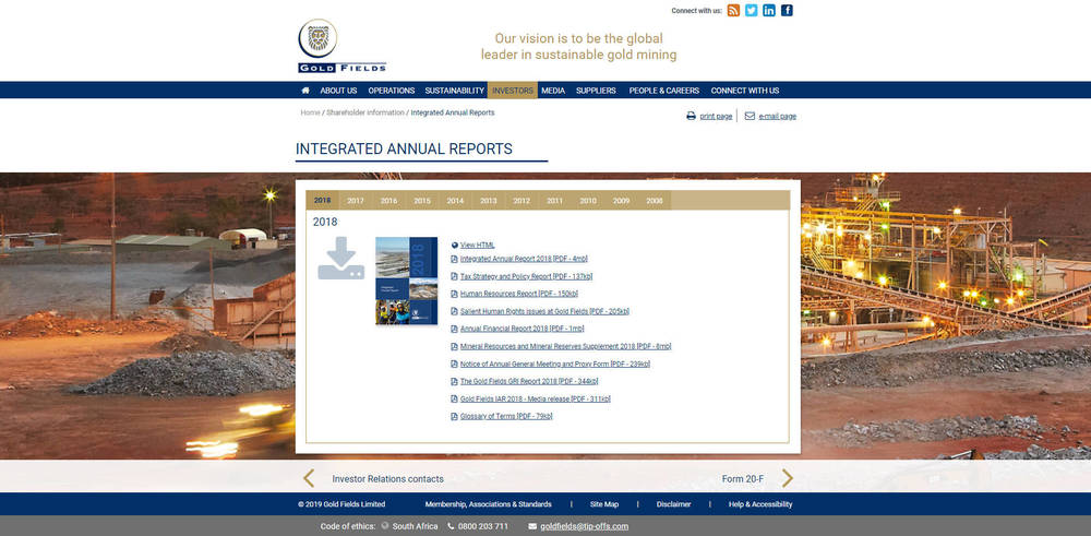 Gold Fields Corporate Site - Integrate Annual Reports