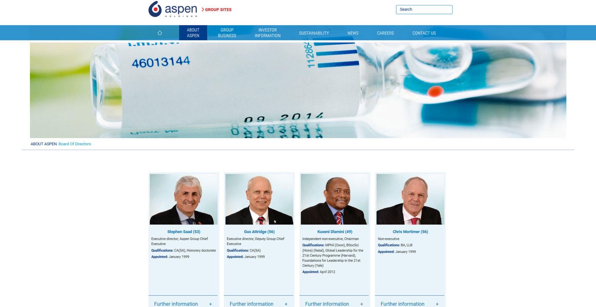 Aspen Pharmacare corporate site � directors