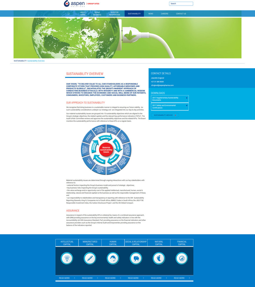 Aspen Pharmacare corporate site � sustainability