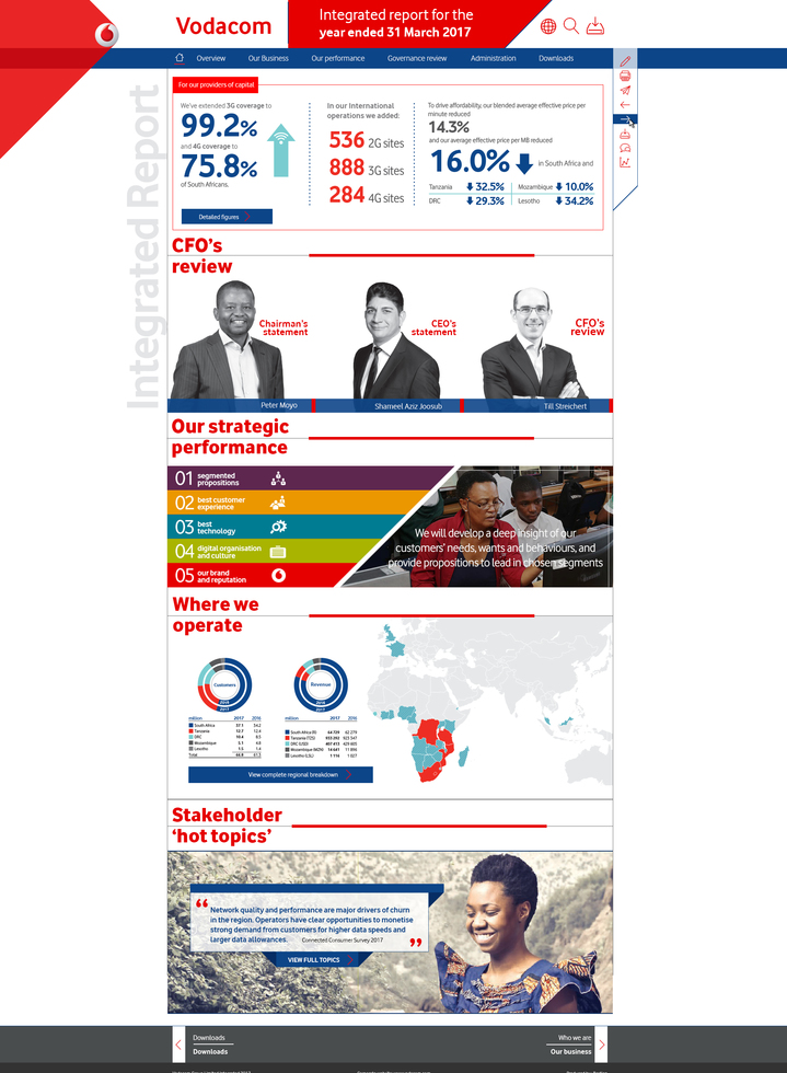 Vodacom Report Home Page