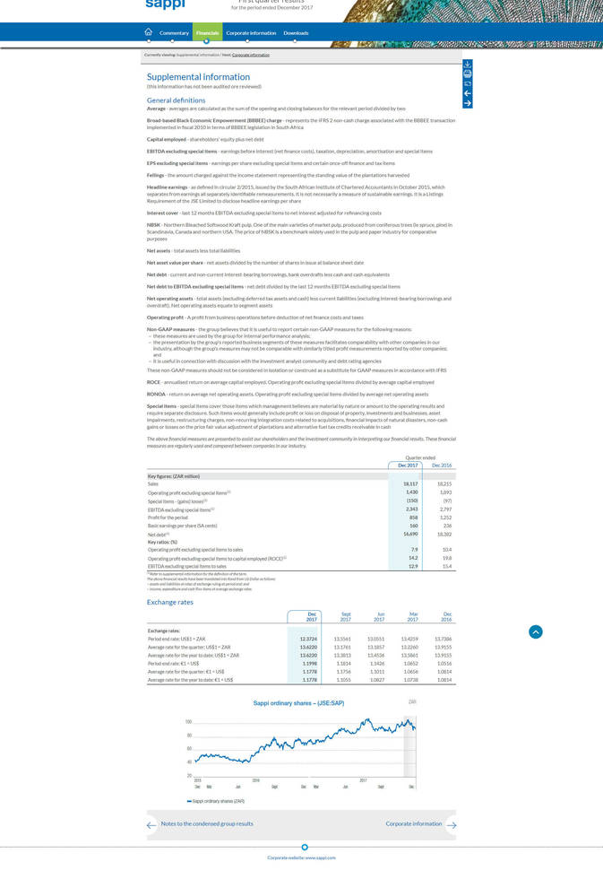 Sappi online results supplimental
