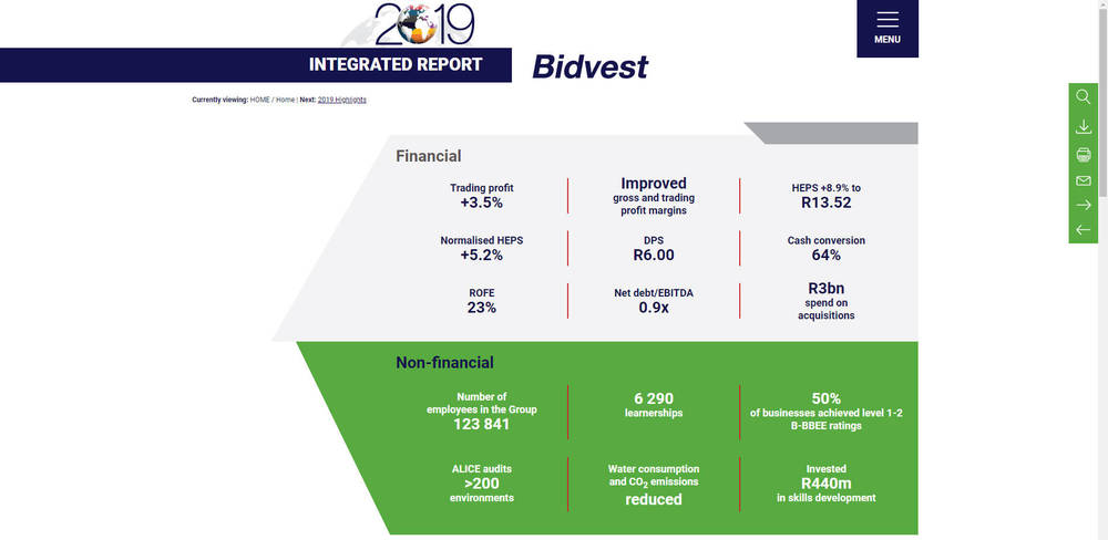 Bidvest - Integrated Annual Report 2019 Highlights
