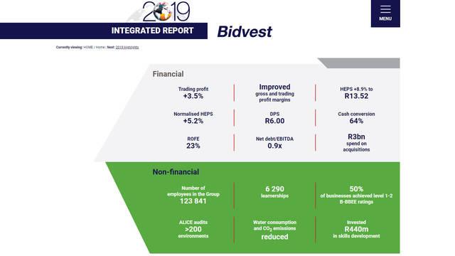 Bidvest - Integrated Annual Report 2019