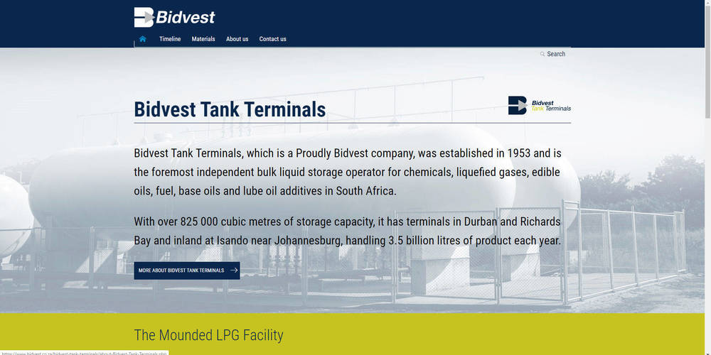Bidvest Tank Terminals Corporate Site - Home