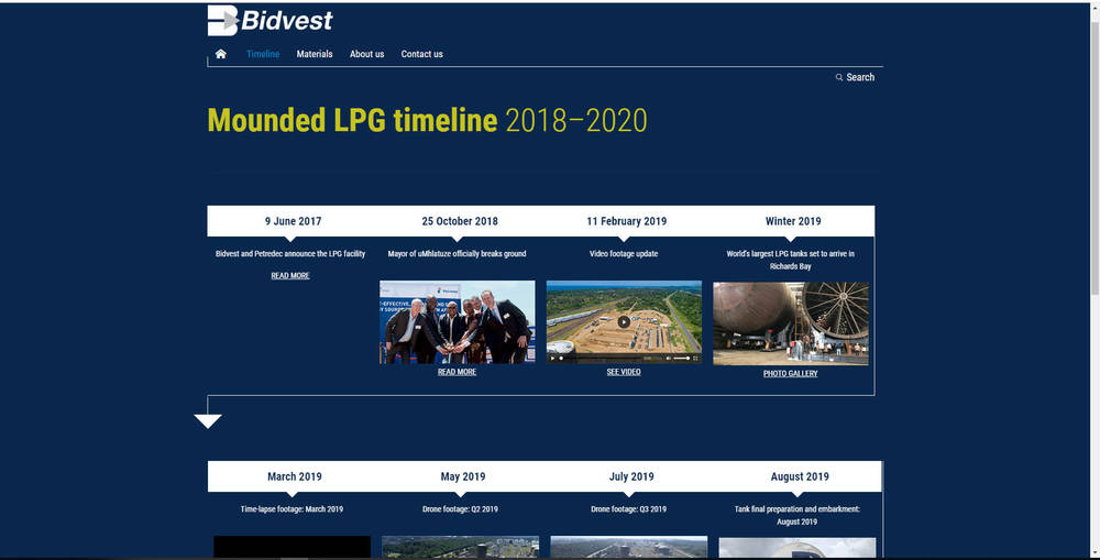 Bidvest Tank Terminals Corporate Site - Timeline