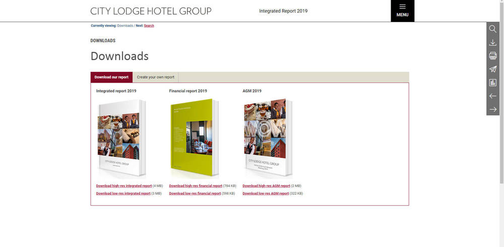 City Lodge Hotel Group Integrated Report 2019 - Covers