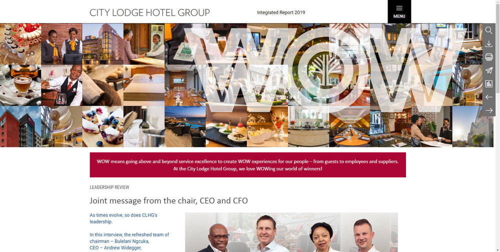 City Lodge Hotel Group Integrated Report 2019 - Home