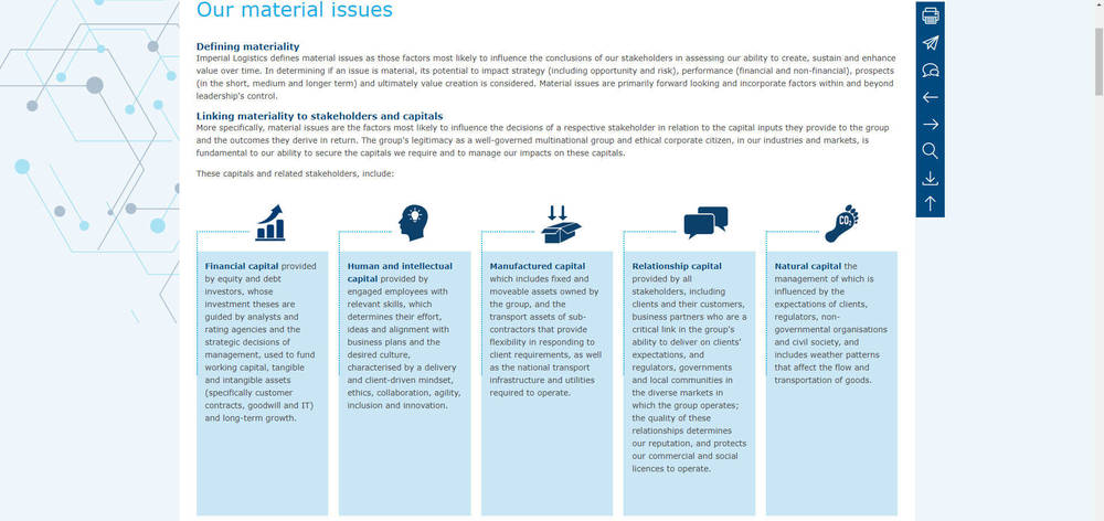 Imperial Logistics - Integrated Annual Report 2019 - Our Material Issues