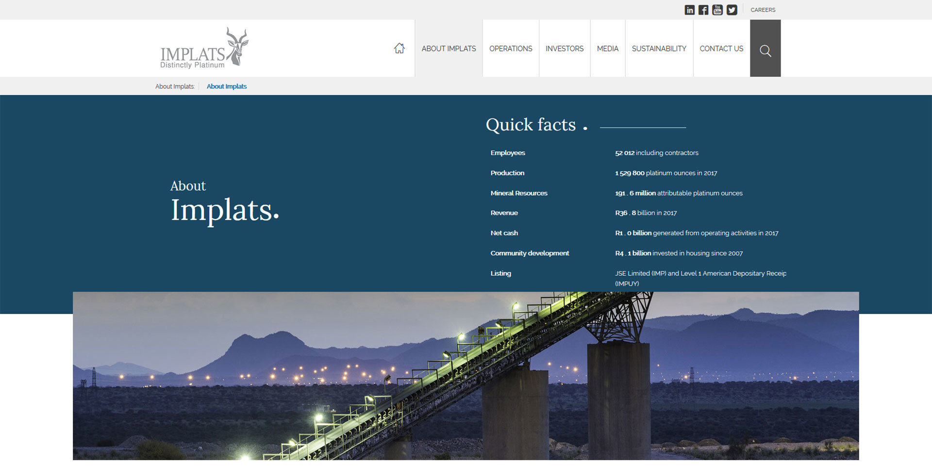 Implats corporate website - about