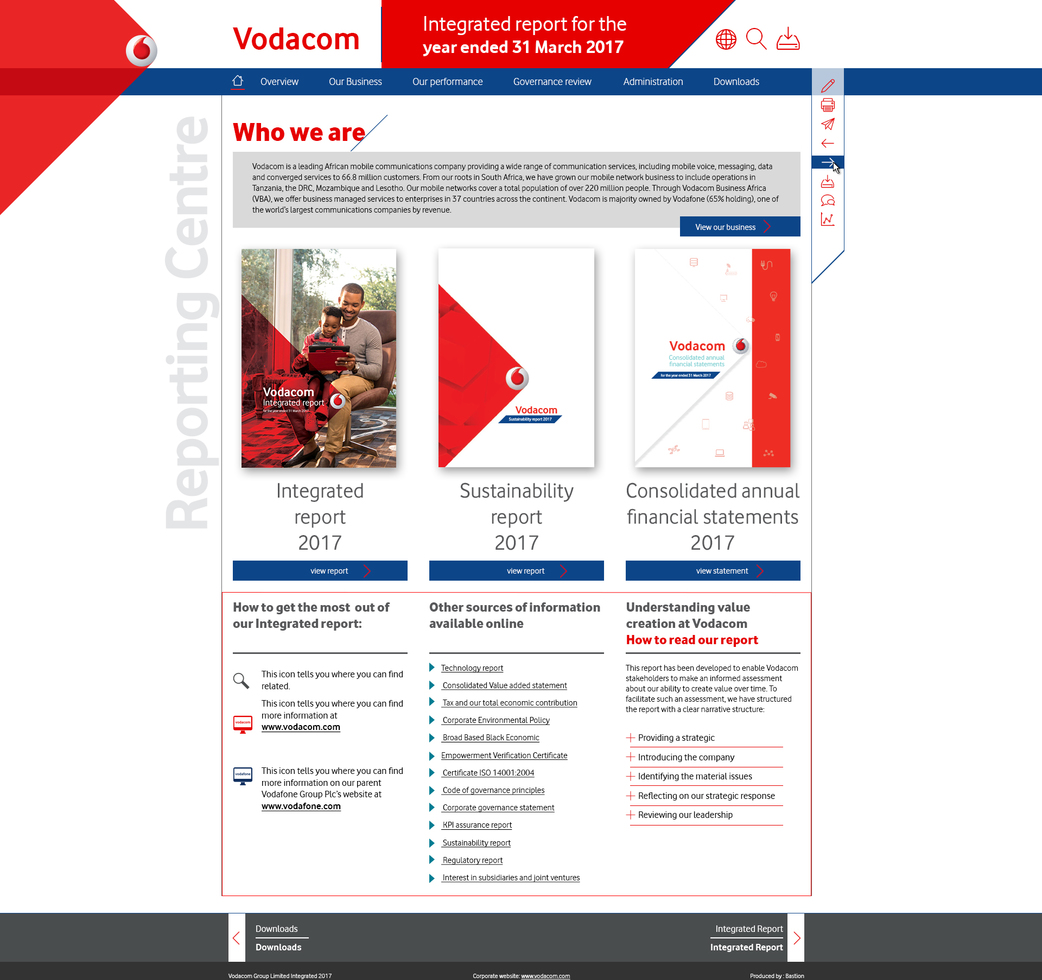 Vodacom Report Landing Page
