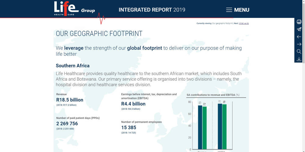 Life Healthcare - Integrated Annual Report 2019 - Geographic Footprint