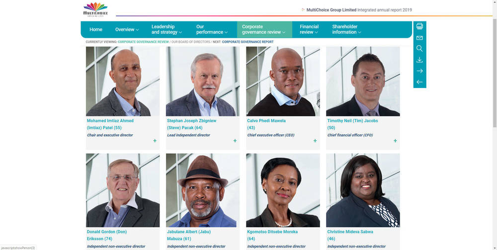 MultiChoice Group Limited Integrated Annual Report 2019 - Our Board Of Directors