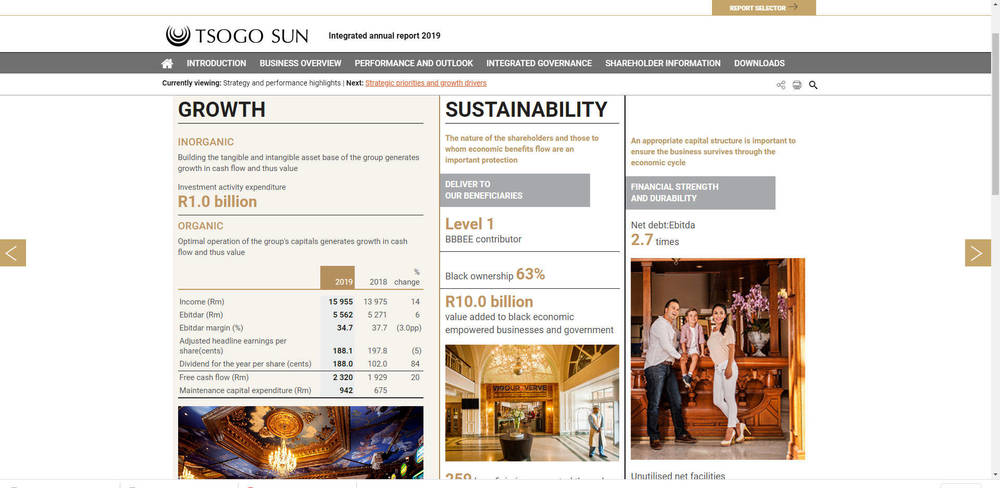 Tsogo Sun - Integrated Annual Report 2019 - Strategy And Performance